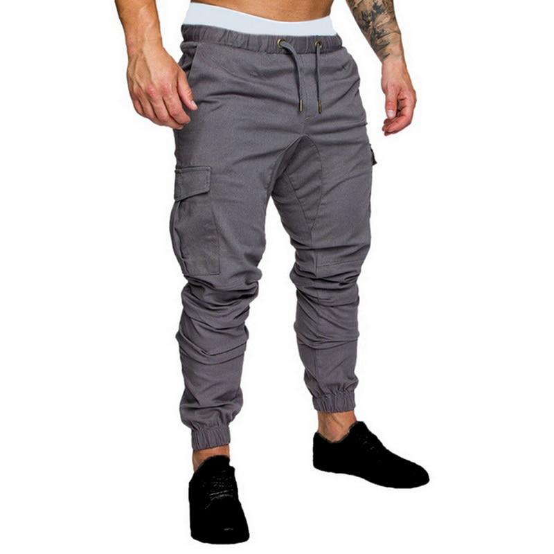 Solid Multi-pocket Pants Homme Sweatpants