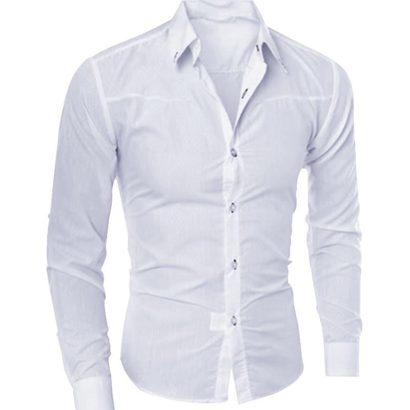 Men's Slim Fit Long Sleeve Dark Solid Color Lapel Top Large Size Shirt