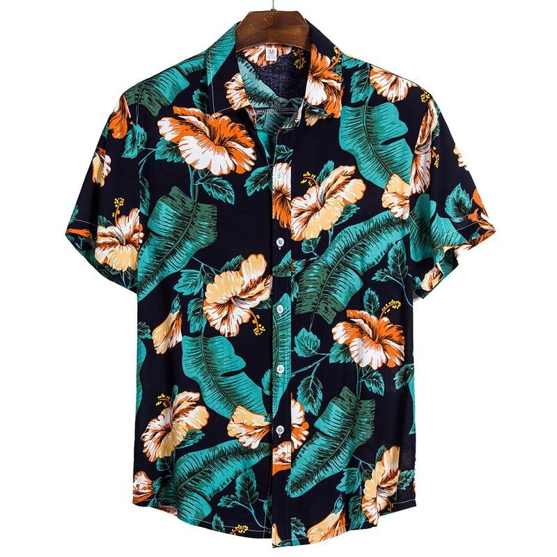 Cotton Linen Stripe Short Sleeve Loose Hawaiian Henley Shirt