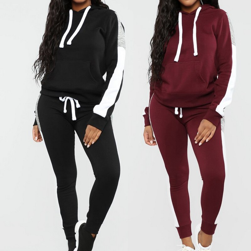 Laamei Long Sleeve Tracksuit Women Stripe Running Set