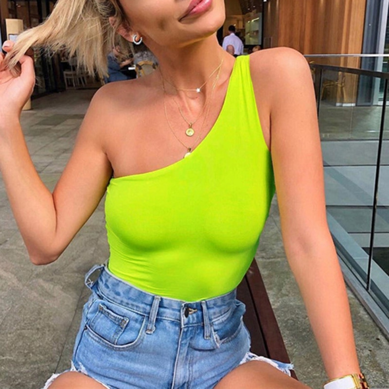 One-shoulder Vest Slim Candy Color Sleeveless Tight Bodysuit