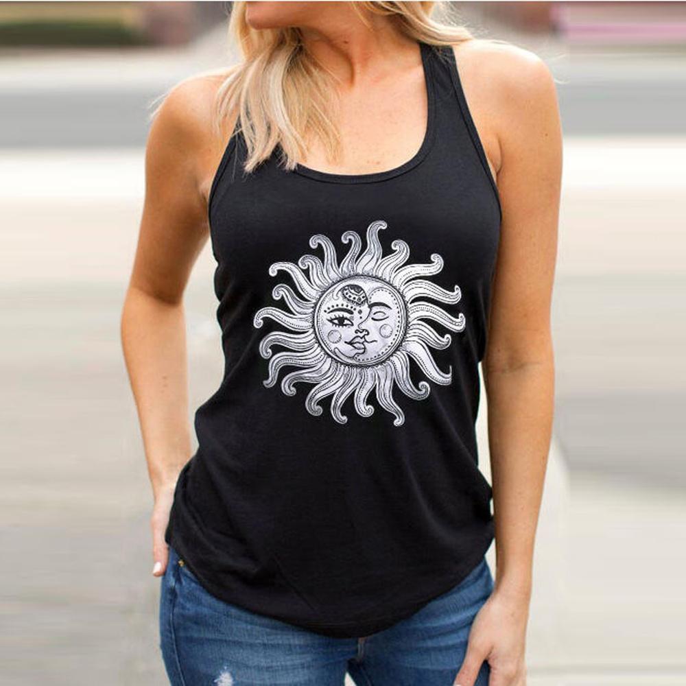 Sleeveless Vest Tops Women Letters Printed Tee Shirt