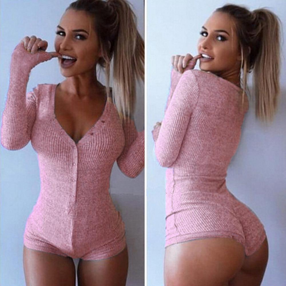 Sexy Fashion V Neck Bodysuit Stretch Long Sleeve Clubwear Jumpsuit