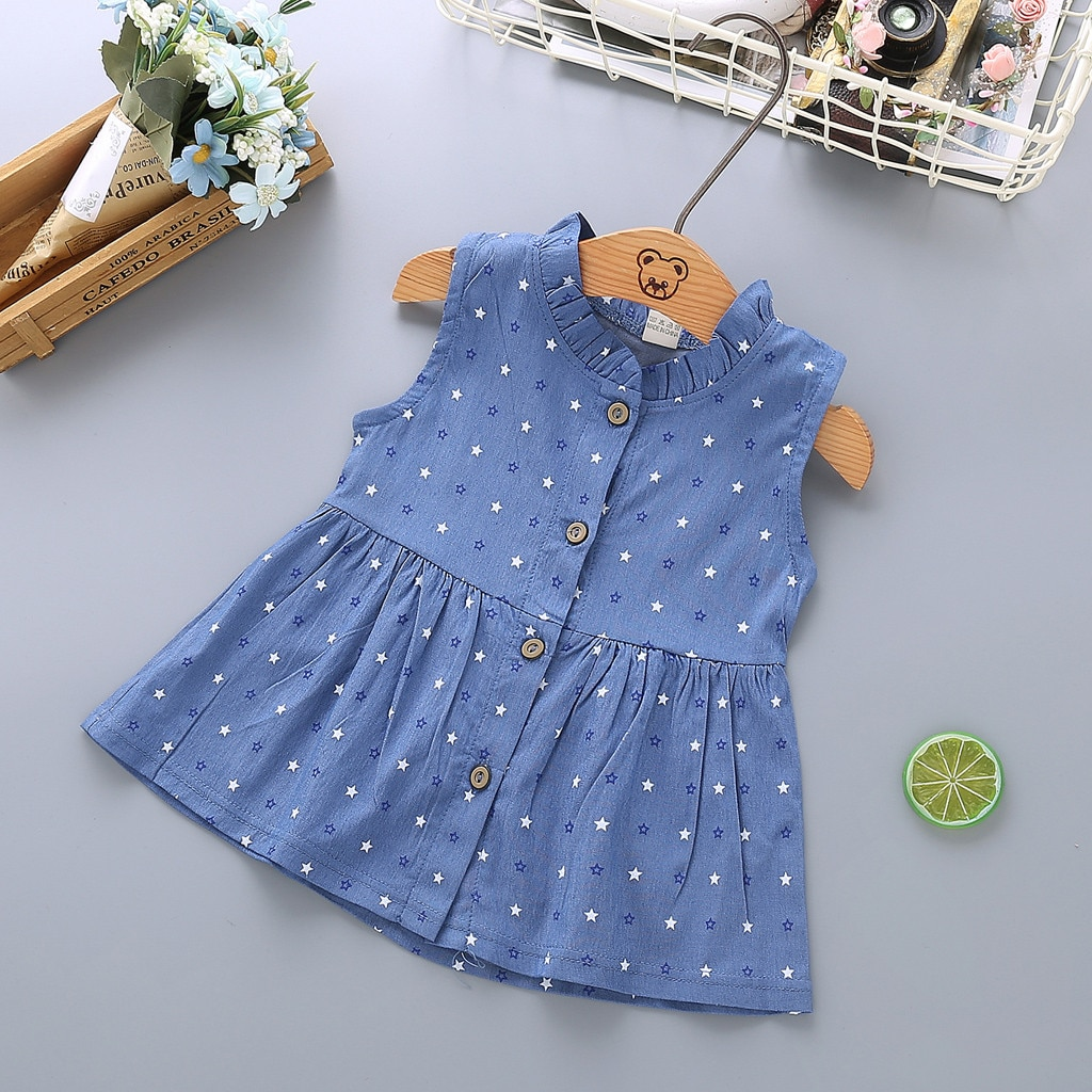 Toddler Baby Girls Floral Print Bowknot Sleeveless Princess Denim Dress