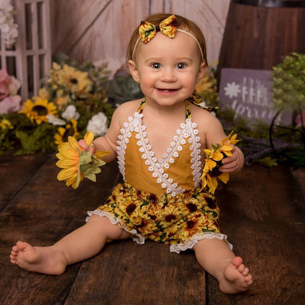 Girls Boy Lace Backless Sunflower Romper Jumpsuit Clothes