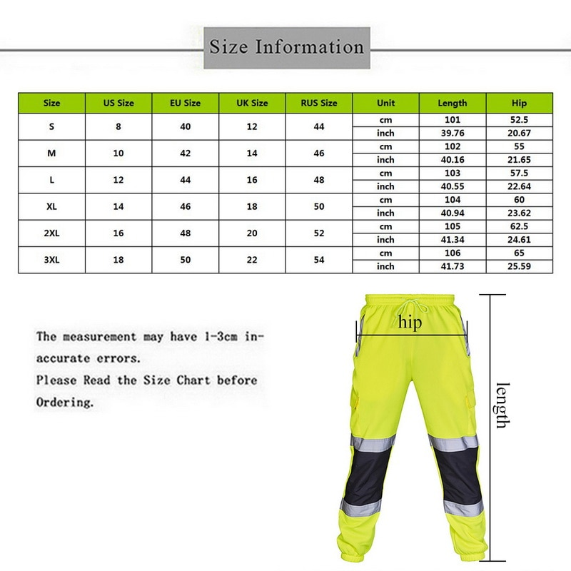 High Visibility Overalls Casual Pocket Work Cycling Trouser Pants
