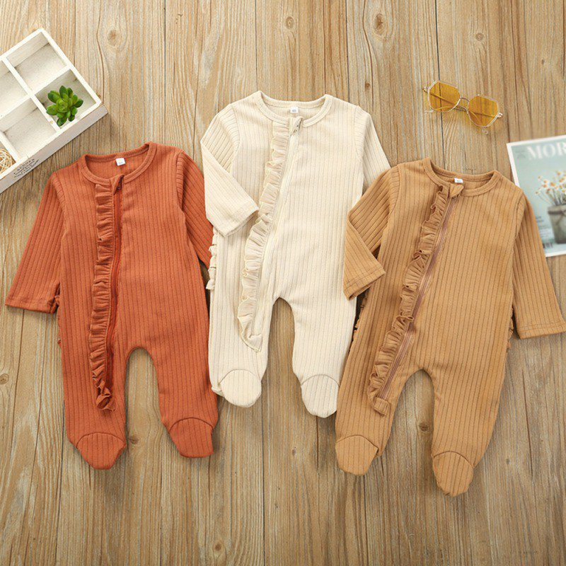 Infant Baby Girl Boy Footed Sleeper Romper Solid Zipper Clothes