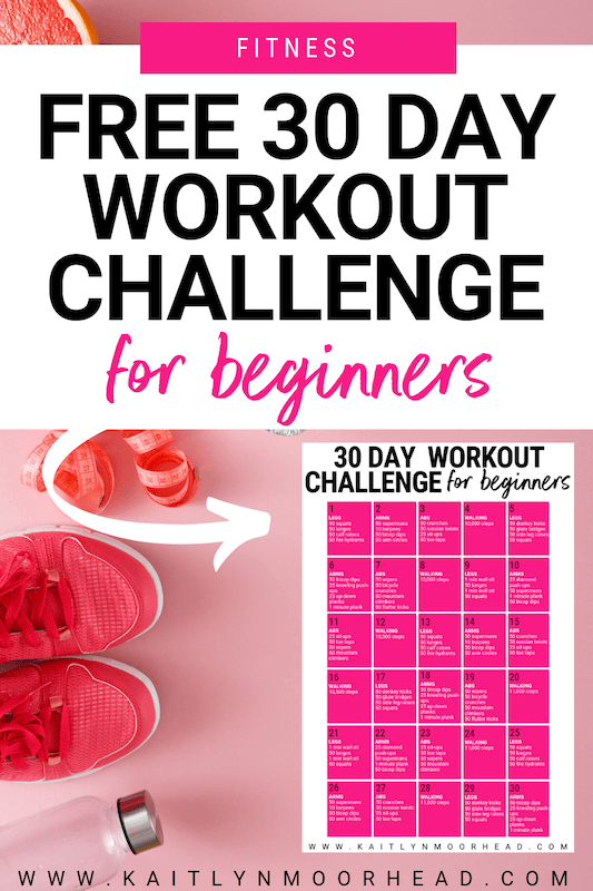 This 30 day workout challenge is for beginners looking to slowly incorporate fitness into their lifestyle so it actually becomes a habit! Each workout takes less than 20 minutes + doesn't need any equipment. So, it can be done at home or at the gym! The workouts rotate between legs, arms, abs, + walking using the best fat burning full body exercises to help you lose weight + see results. Click to download your free printable pdf calendar! #30day #challenge #workout #beginners #women #leg #abs