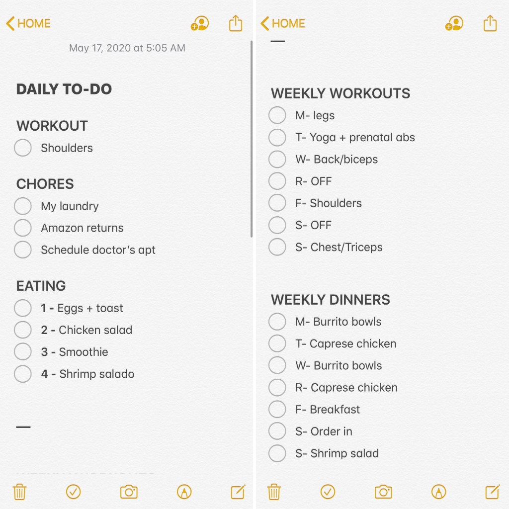 Want an easy + efficient way to plan your day in advance so you actually stick to it? This post breaks down how I plan my to-dos every Sunday + every morning as part of my routine. I have been doing this for 6 weeks in a row + have been more productive than ever! I choose to focus on planning my workouts, chores, + meals. But, you can use my template as inspiration + prioritize the categories that work for you in your own digital planner using iNotes. Click to create your own planner now!