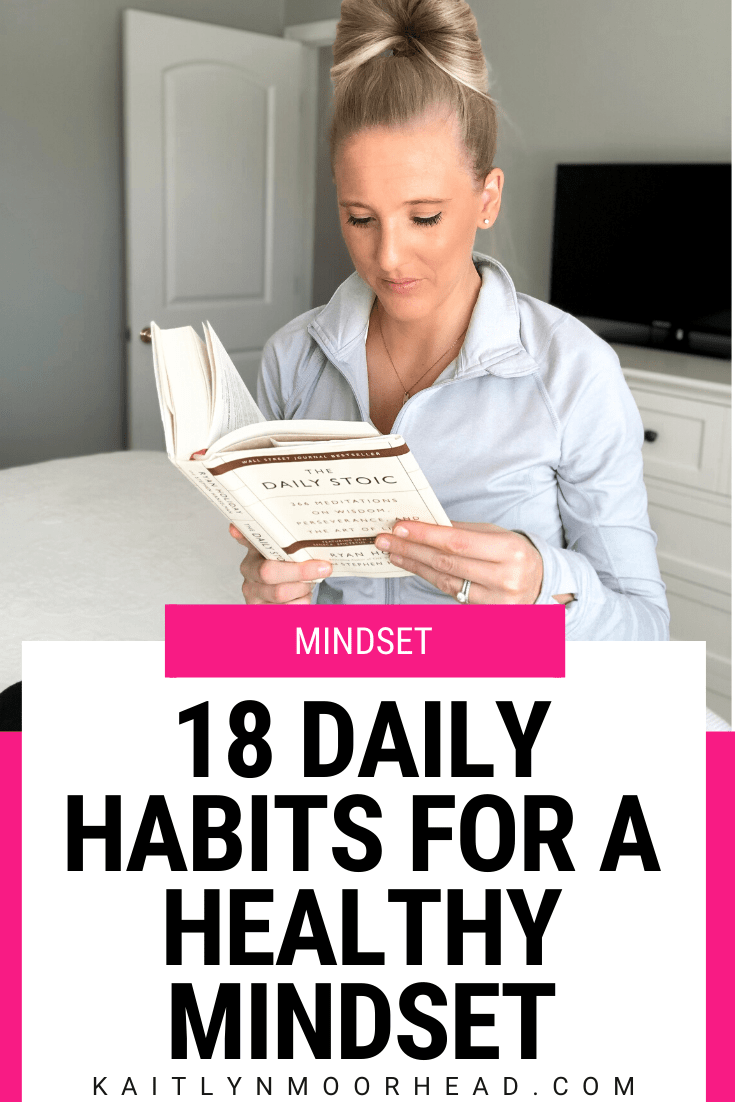 If you are on a journey to create a healthy lifestyle or just want to think more positive thoughts, looking at your daily mindset habits is critical. The behaviors you repeat every day to reflect on your feelings, inspire happiness, + work on yourself is everything. This post includes 18 daily mindset habits focused on self development + personal growth so you can create a self care routine + change your life! Click this posts for all 18 tips. #mindset #happiness #selfcare #personalgrowth #happy