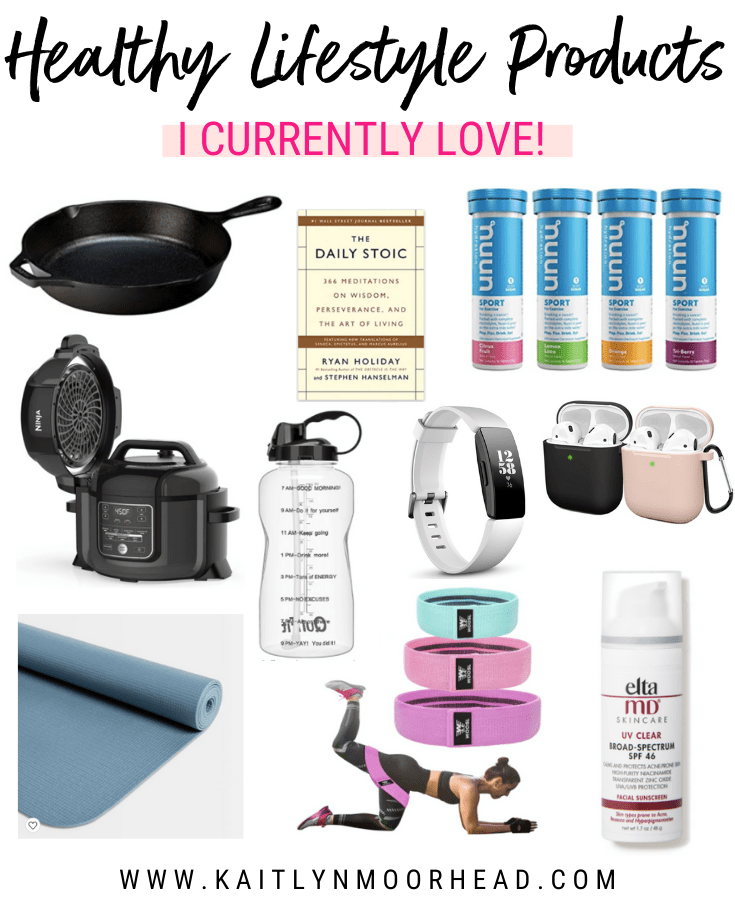 Looking for the motivation to stay on track with eating healthy + working out? This post includes 10 of my current favorite health + wellness products that helps me live a healthy lifestyle every day. I include some of my favorite healthy cooking kitchen products, water bottle to track water intake , booty resistance fitness bands, meditation self help book, airpods silicone case, electrolyte low-calorie tablets, fitness tracker, budget yoga mat, + face sunscreen! #healthy #lifestyle #products