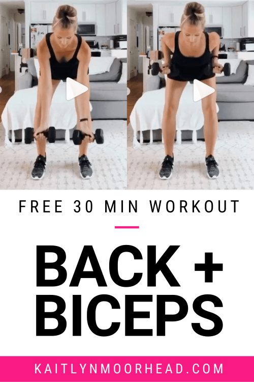 Looking for a quick + effective 30 minute back + biceps workout? This workout is made up of 6 upper body toning exercises for ultimate fat burning. You can complete this workout at home or at the gym + all you need is dumbbells! Challenge yourself by choosing heavy, strength training weights. This workout is perfect women who are beginners + are looking for slimming moves to tone their arms + upper body fast! Click for the full workout + video demonstrations of each move. #back #biceps #workout