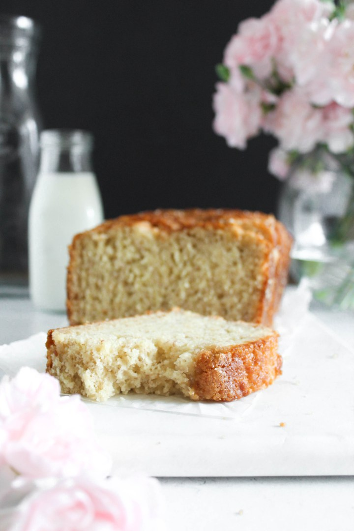 banana bread on parchment paper.