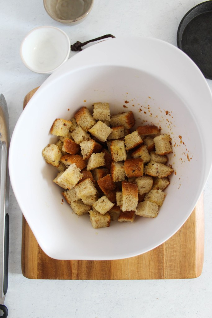 croutons in mixing bowl.