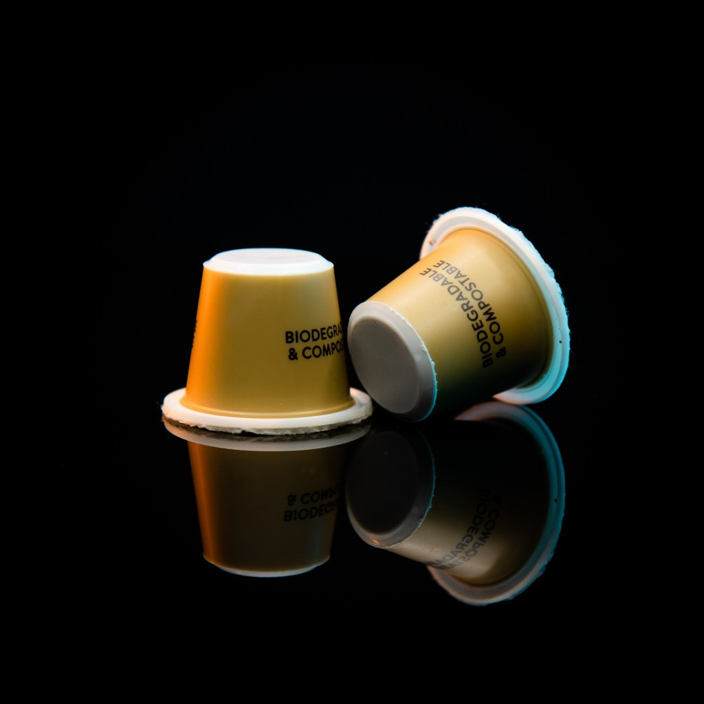 Two compostable Kaizen capsules
