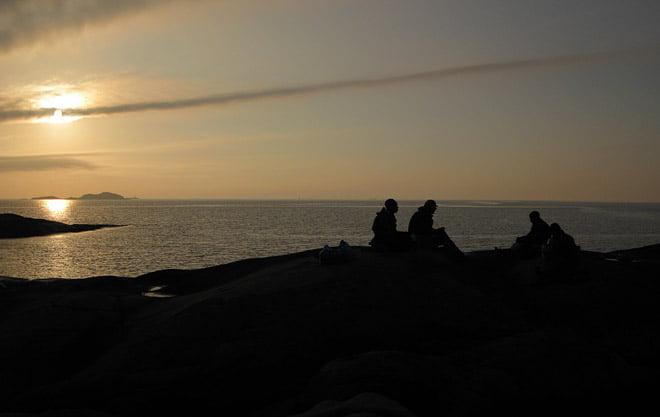 siluetter vid horisonten