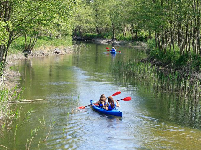 Kolejne osoby na spływie kajakowym od jeziora żarnowieckiego w rzece piaśnica