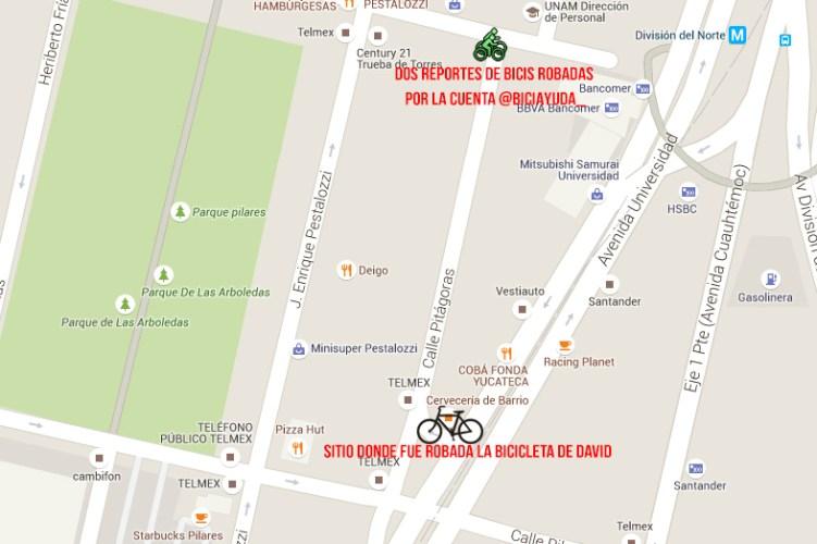 Captura de pantalla del mapa de @BiciAyuda_