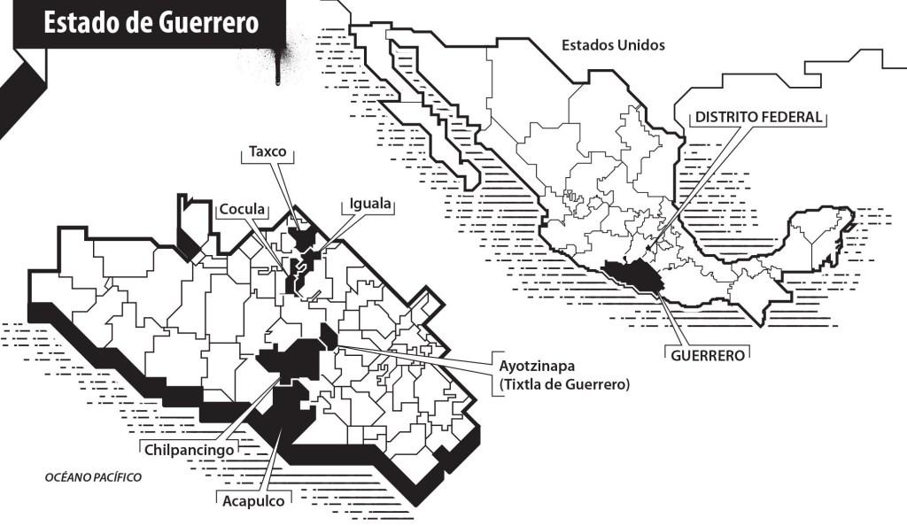 Mapa de Los 43 de Iguala