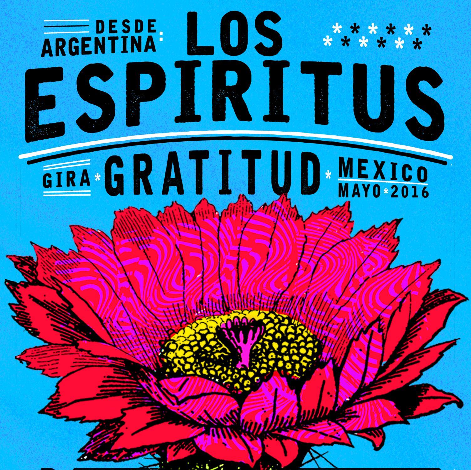 Cartel de la gira de Los Espíritus en México realizado por DG Tu Vieja.