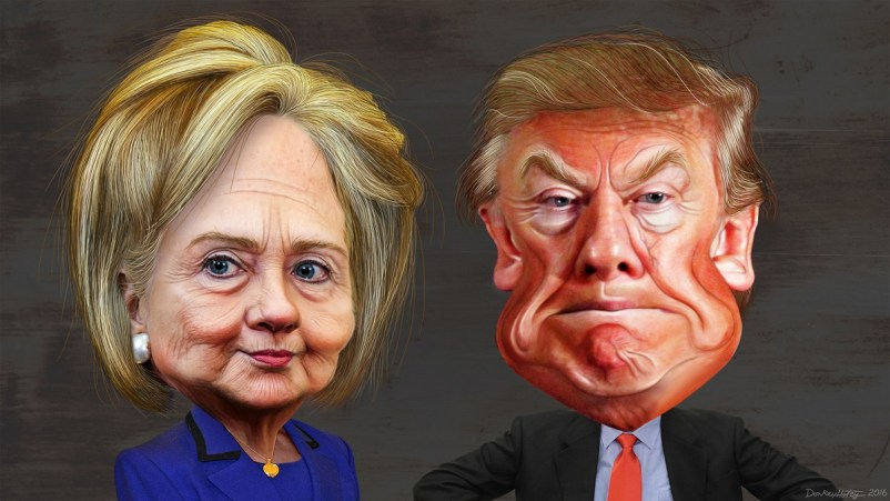 hillary-clinton-vs-donald-trump-caricatures-by-donkeyhotey-flickr-cc-by-sa-2-0