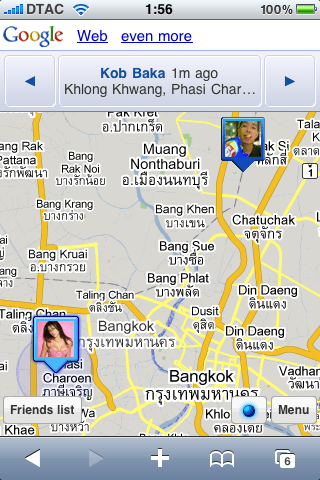 Google Latitude via iPhone's Safari