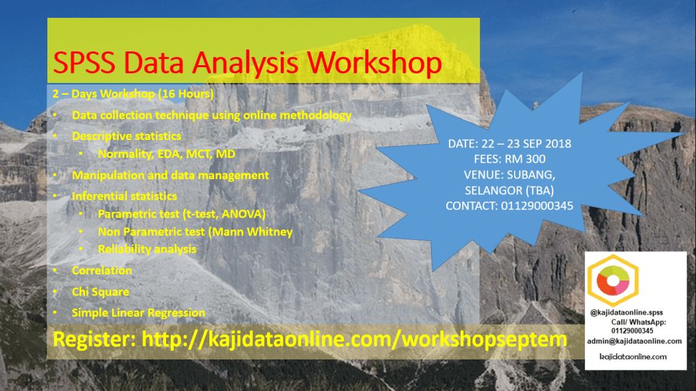 SPSS Workshop and Training for Data Analysis September 2018