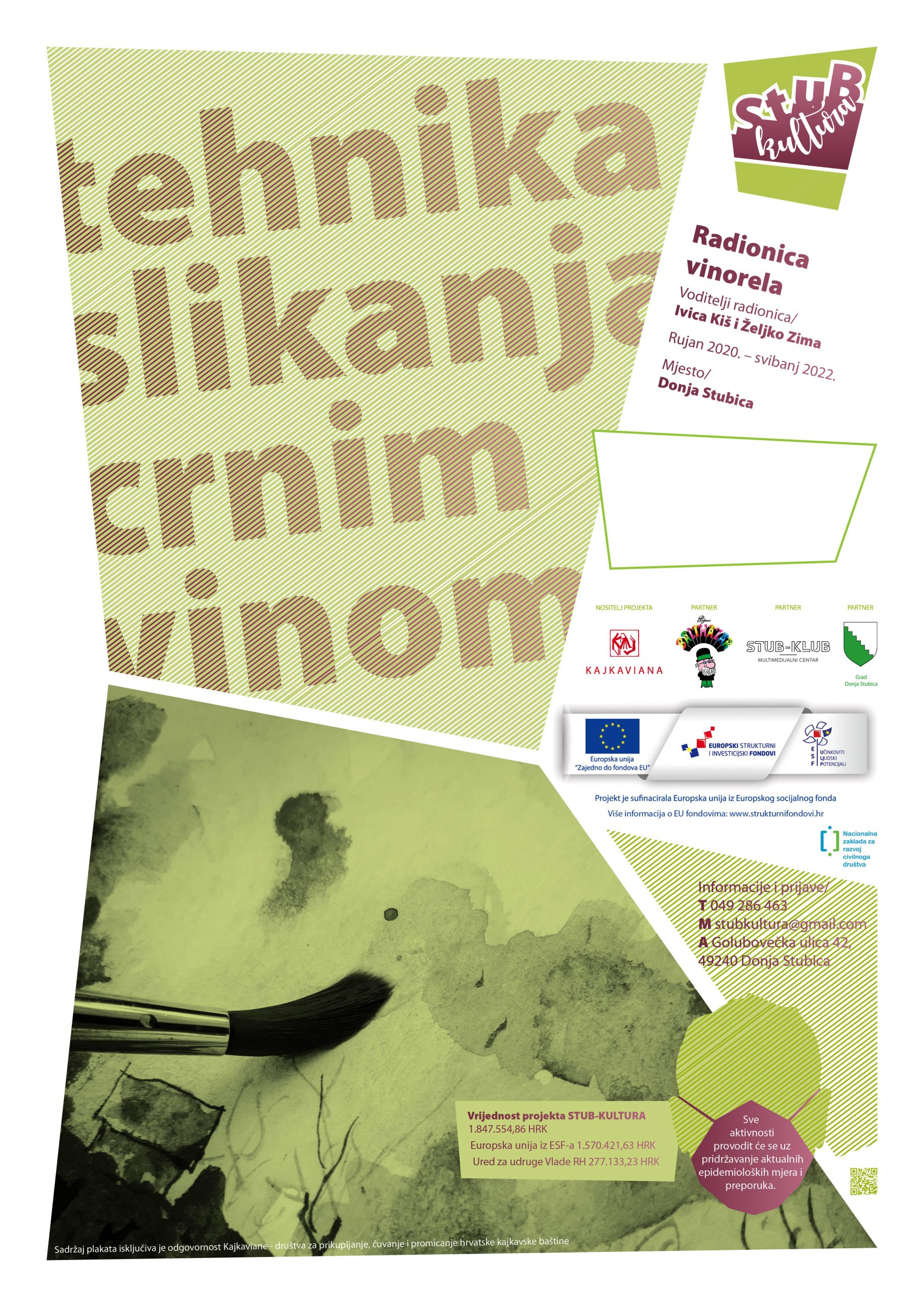 Slika prikazuje plakat za Radionicu vinorel tehnike slikanja.