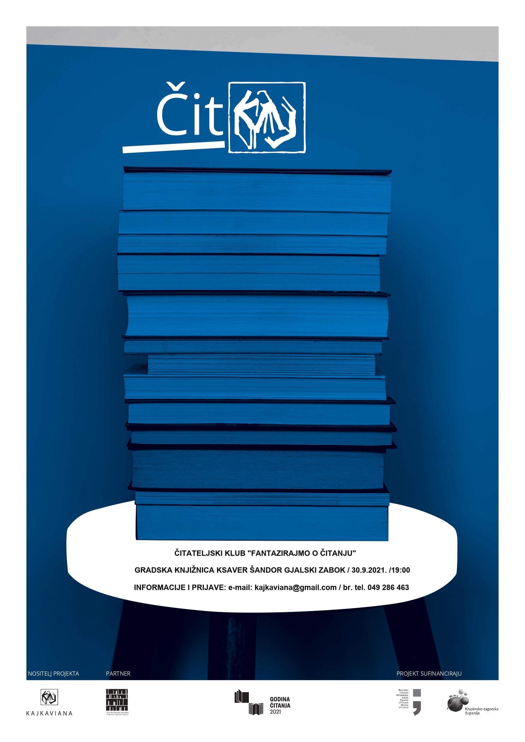 Slika prikazuje nasložene knjige na stoliću za kavu, zapravo plakat za Čitateljski klub.