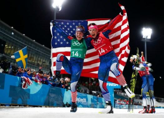 Diggins Randall win Olympics Pyeongchang cross-country relay