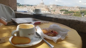 Cappuccino at Castel Sant'angelo.