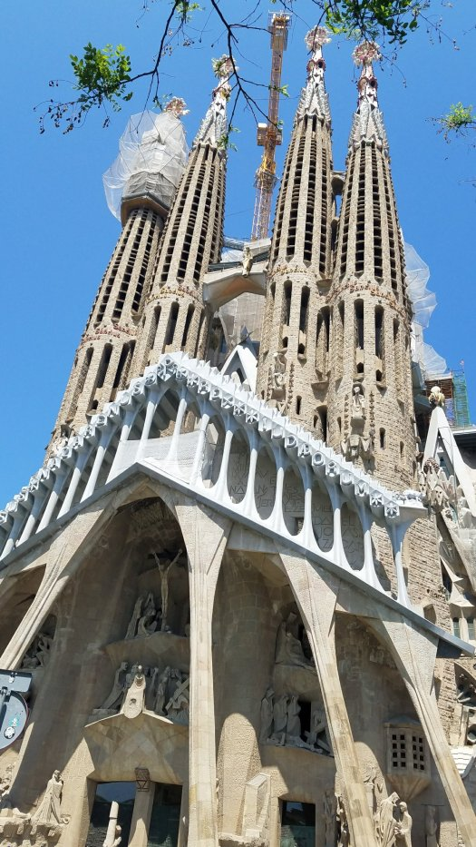 La Sagrada Familia front, Barcelona, Spain.