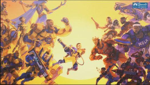 Golden State Warriors artwork battling NBA