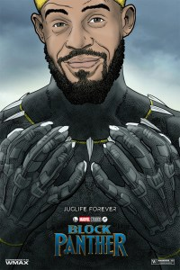 Javale McGee drawn as Black Panther