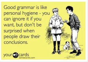 Grammar themed post card