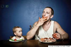 Dad and son aren't served the same food