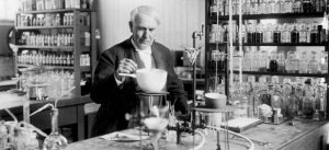 Thomas Edison working in his lab