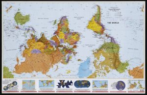 World Map, south at top