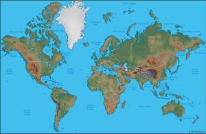 World Map, north at top