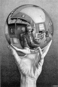Escher painting of hand holding mirror reflecting artist
