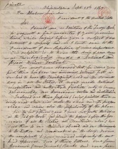Letter from Sarah Hale to President Lincoln