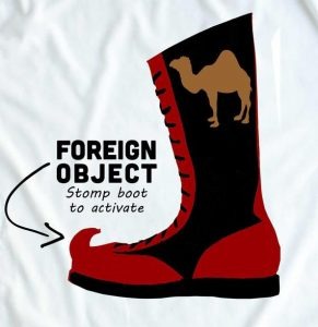 """drawing of boot with curved toe with arrow pointing to """"FOREIGN OBJECT"""""""