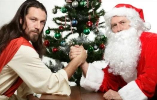 Jesus armwrestles Santa