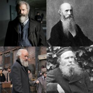 four bearded men, two actors and true counterparts