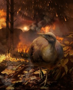 bird running from fire from asteroid