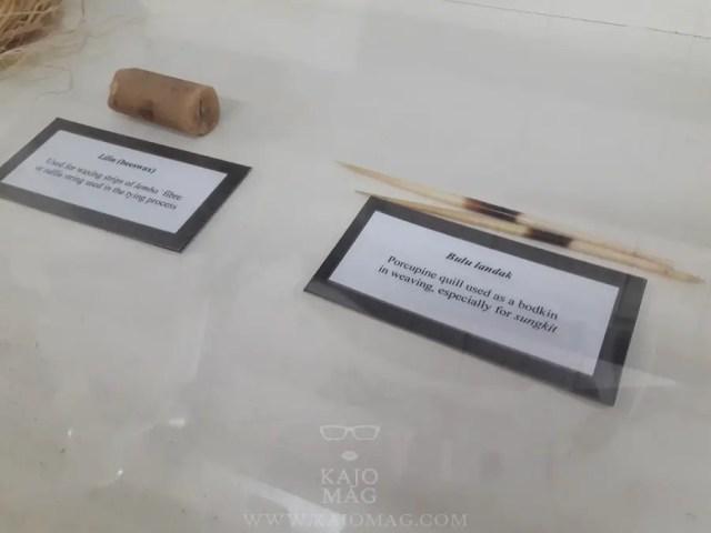Some of the weaving materials to make pua kumbu displayed.