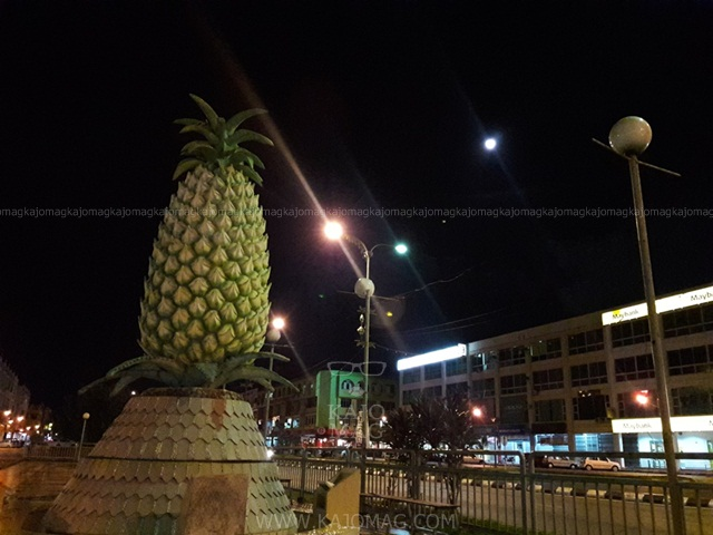 The iconic pineapple statue in Sarikei