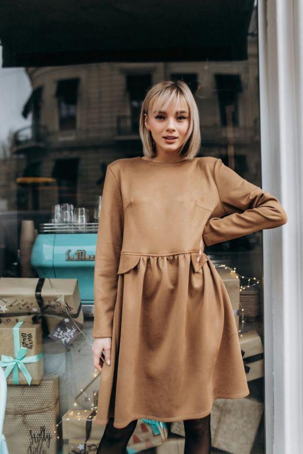 Платье замша цвет camel