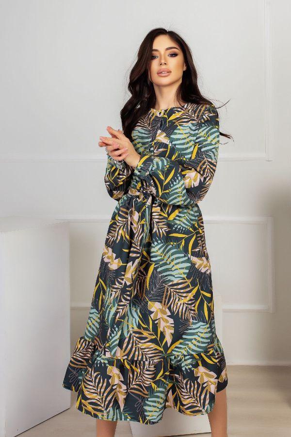 Платья тропический принт с рюшем