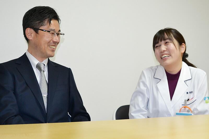 白水専務取締役、棚田先生のインタビュー中の様子